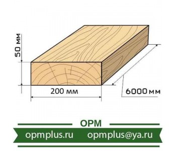 Доска обрезная 50х200х6000 мм ГОСТ